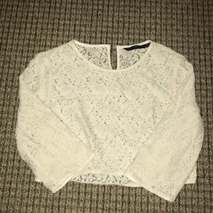 ZARA LACE CROP BLOUSE SIZE MEDIUM MADE IN SPAIN